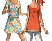 Vintage Sewing Pattern 1960s Mini Dress Bell Bottoms Tank Top Bust 36 //SALE//