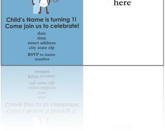 Monkey theme 1st birthday invitation