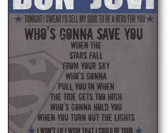 Superman Tonight / Bon Jovi / Lyric / DIGITAL Typography Poster