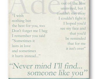 Someone Like You / Adele / Lyric / DIGITAL Typography Poster / Printable