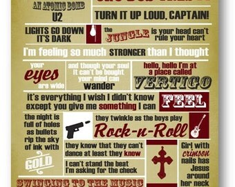 Vertigo / U2 / Lyric / DIGITAL Typography Poster / Printable