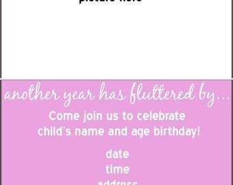 Butterfly Theme Birthday Photo Invitation