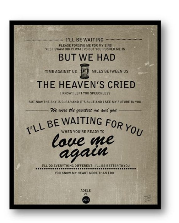 I'll Be Waiting / Adele / Lyric / DIGITAL  Typography Poster / Printable