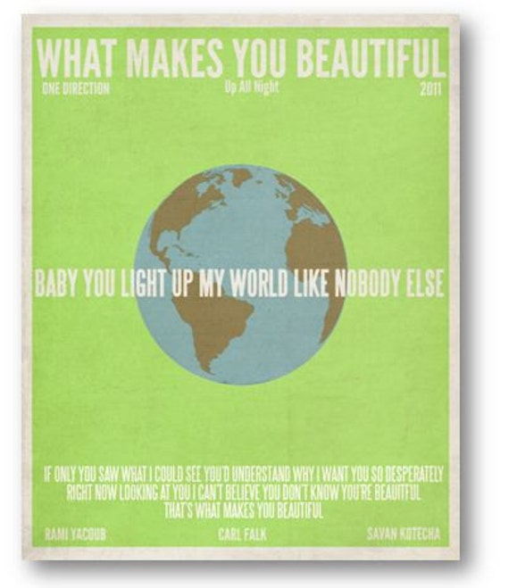 What Makes You Beautiful/ One Direction / Lyric / DIGITAL  Minimalist Typography Poster / Printable