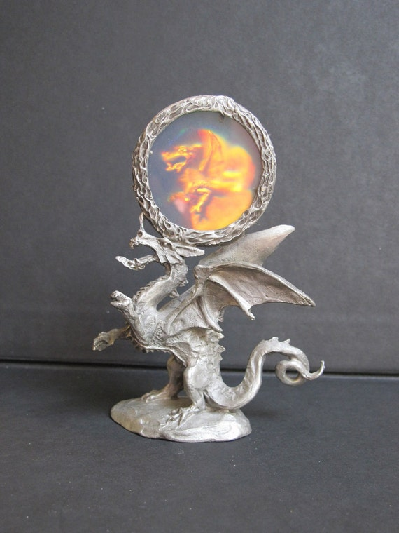 Vintage pewter dragon figurine with hologram gallo pewter - Pewter dragon statues ...
