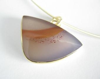 gold pendant - apache agate
