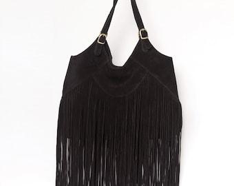 Boho leather handbag, Suede fringe bag, Bohemian gypsy bag, Leather shoulder bag, Fringed boho bag, Black suede boho bag, Long fringes bag