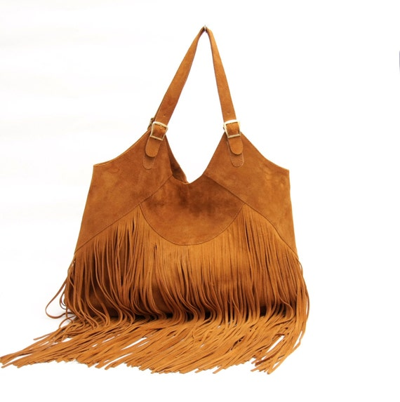 Suede tote bag in tan, fringes suede tote, boho tassel purse,  fringe bag,  winter fashion,  tassel tote  brown suede tote