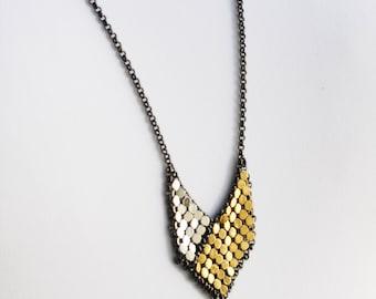 ON SALE - Mini Shield Framed Mesh Necklace