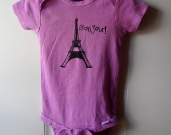"Eiffel Tower Baby Bodysuit, Paris Baby Bodysuit that says ""bonjour"", Light Purple, Cotton, Infant Creeper"
