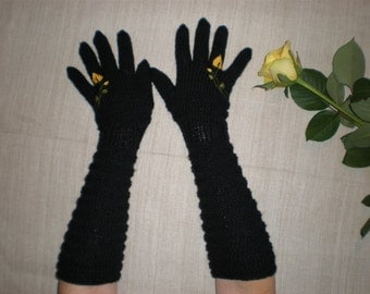 Long sleeve gloves - Black rose gloves - Yellow rose gloves - Long arm warmers - Floral gloves - Black fingerless gloves - Flower gloves