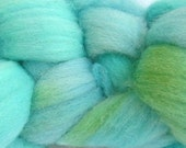 Wool Roving Hand Dyed in Ocean Tide Aqua Blue Green