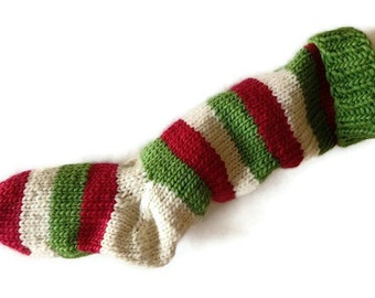 Hand Knit Christmas Stocking Hand Knit Green, Natural White, and Red Striped Santa Sock