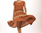 SUPER SALE-Vintage 1950's Cinnamon Brown Western Style Dress with Gold Zigzag Detail