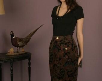50% Off Sale-Vintage Multi-colored Paisley Corduroy Slim High Waist Skirt