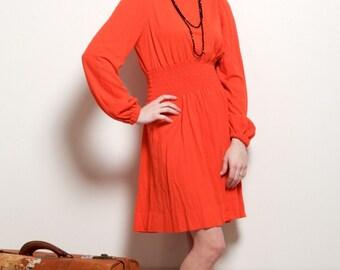 25% OFF SALE- Vintage 1970's-80's Red Orange Puff Sleeve Dress