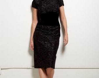 25% OFF SALE- Vintage 1940's-50's Black and Silver Striped Bloomfield Cocktail Dress with Black Velvet Bow