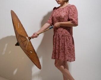 25% off SALE-Vintage Sheer Mauve Floral Pattern Baby Doll Mini Dress