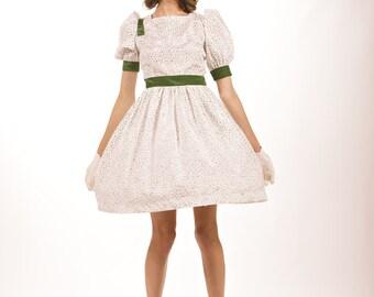 Vintage Homemade 1950's White and Green Polka Dot Dress