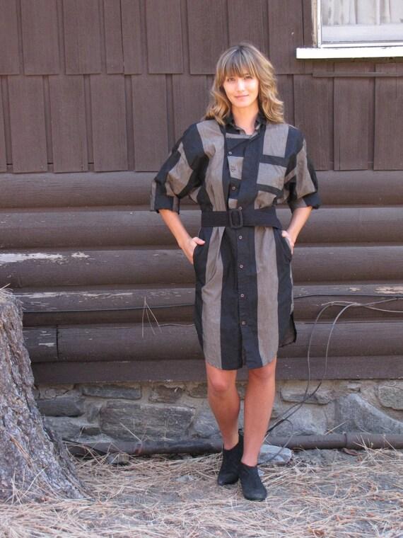 Vintage 1980's Brown and Black Striped Shirt Dress