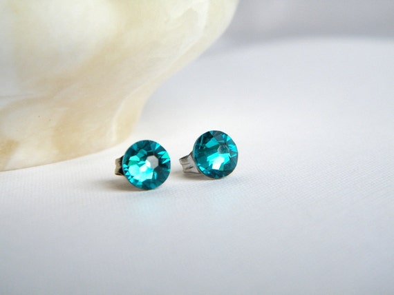 Teal Swarovski Stud Earrings, Blue Zircon Rhinestone Post Earrings, Blue Green Post Earrings, Bridesmaid Earrings, Wedding Earrings