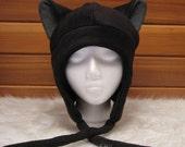 Cat Ear Hat  - Black / Grey Fleece Kitty Ear Flap Aviator by Ningen Headwear