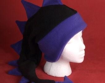 Dragon Hat - Black / Purple Fleece Dinosaur Ear Flap Animal Hat by Ningen Headwear