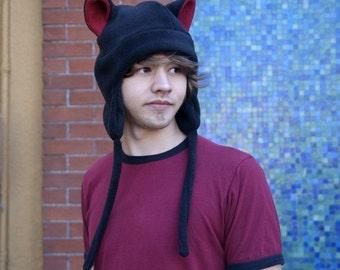 Fleece Kitty Cat Hat - Mens Womens Black / Red Aviator Style by Ningen Headwear