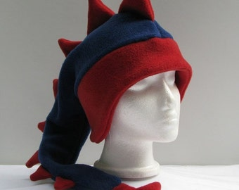 Dinosaur Hat - Mens Womens Boys Girls Denim Blue / Red Fleece Dragon by Ningen Headwear