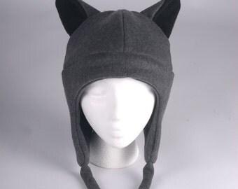 Fleece Wolf Hat - Gray Aviator Style Mens Womens Teen Wolf Hat by Ningen Headwear