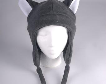Fleece Fox Hat - Mens Womens Gray Aviator Style Fox Ear Hat by Ningen Headwear