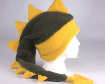 Fleece Dragon Hat - Dark Green / Yellow Gold Dinosaur by Ningen Headwear