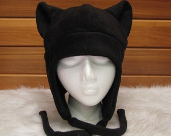 Black Cat Hat - Mens Womens Fleece Kitty Ear Aviator Earflap by Ningen Headwear