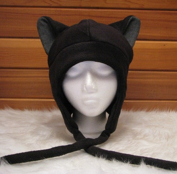 Cat Ear Hat  - Black / Grey Fleece Kitty Ear Flap Aviator by Ningen Headwear