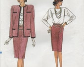 1980s Vogue Designer Style Suit Sewing Pattern 9729 Size 8 10 12 Uncut, Lined Box Jacket, Straight Skirt, Pencil Skirt, Pullover Blouse,