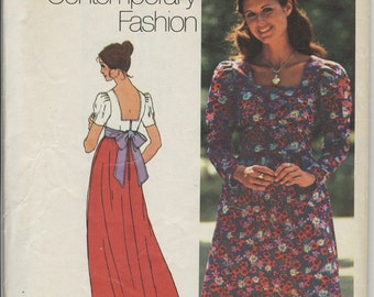 1970s Maxi and Mini Dress Sewing Pattern Simplicity 5469 Size 12 Bust 34, Boho, Mod, Vintage 1970s Floor Length Gown