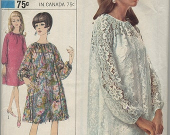 1960s Simplicity Lace Dress and Slip Sewing Pattern 6777 Size 14 Bust 34