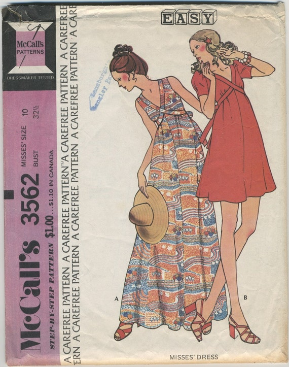 1970s Maxi and Mini Dress Pattern MC 3562 Size 10 Bust 32 1/2