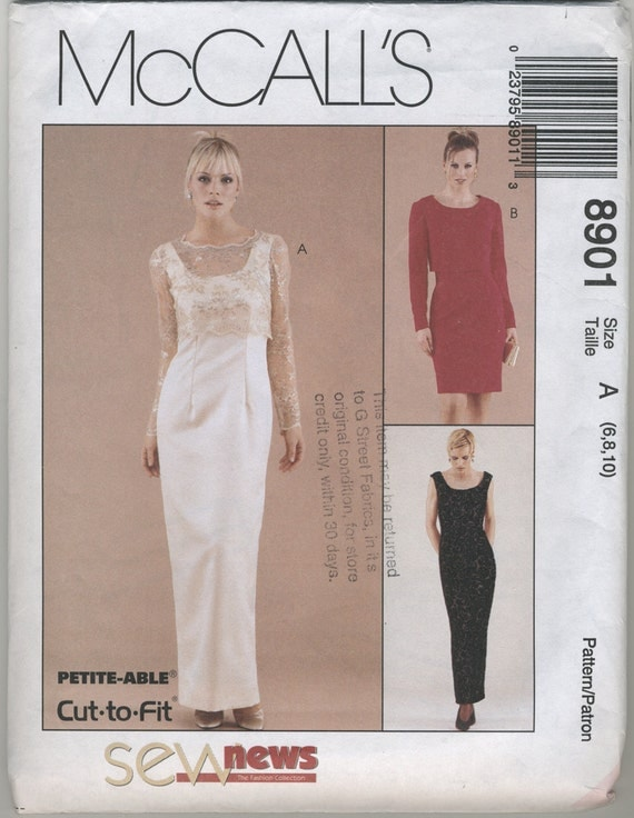 Formal Dress with Lace Over Blouse Sewing Pattern McCall\'s