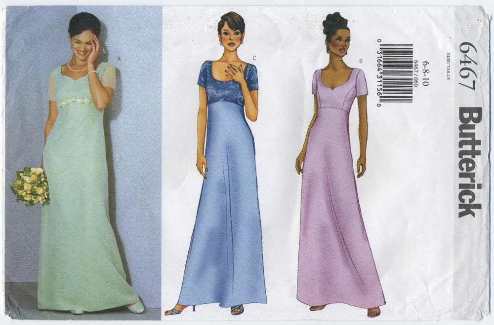 Empire Waist Gown Dress Sewing Pattern Butterick 6467 Size 6
