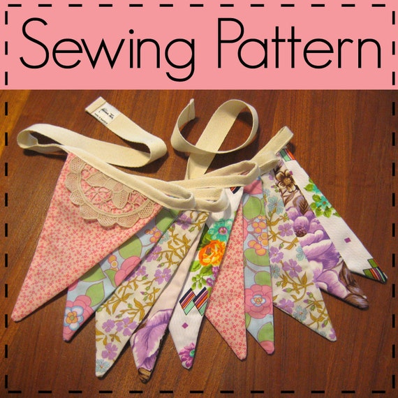 Flag Bunting Sewing Pattern, Fabric Flag Pennant, Party Decoration, Baby Shower Prop - Easy, Beginners, PDF Sewing Pattern
