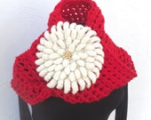 Oversized Red Wool Scarf & Flower Brooch * Detachable Chrysanthemum Brooch  by Tejidos on Etsy * Made to Order
