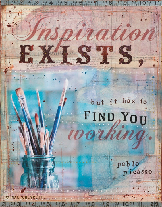 "Inspiration - 11"" x 14"" original inspirational mixed media artwork, artist creative word art typography poster"