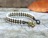 Pearl Agate Flat Brass bracelet