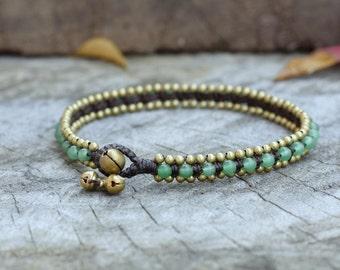 Jade Bead Brass Anklet