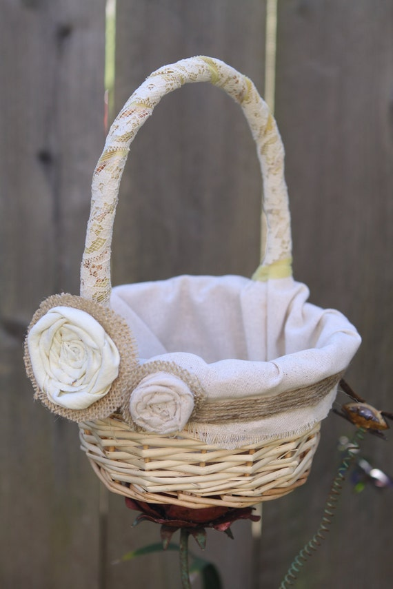 Rustic Burlap Flower Girl Baskets : Items similar to rustic flower girl basket burlap and