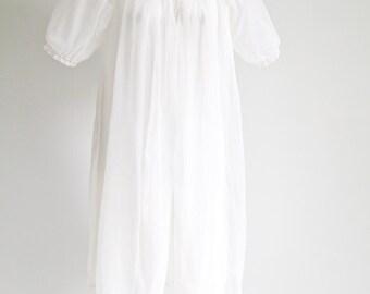 Bridal White Penoir with Dozens of Tiny Smocked Pearls -Sz M