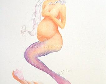 "Pregnant Mermaid Nora Art Signed Robert Kline 11"" x 17"" Print Fantasy Maternity Baby Shower Gift Nautical Beach House Home Boat Office Decor"