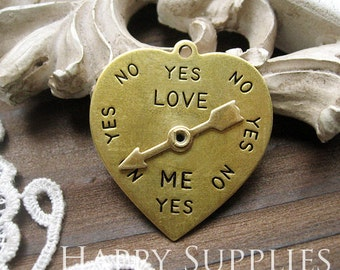 Last - 20pcs Nickel Free - High Quality LARGE Love Me YES NO Raw Brass Heart Spinner Pendant / Charm (ZG117)--Clearance Sale