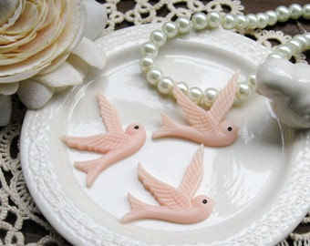 Last - Big Sale - 60pcs High Quality Flying Swallow Resin Cabochon - Light Rose (M24501)-Clearance Sale